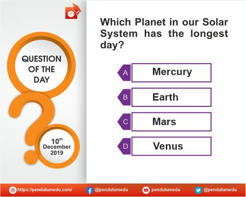 General Awareness - Geography - Solar System - 10 Dec 2019