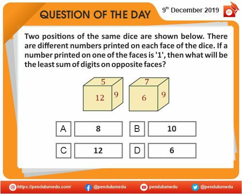 Logical Reasoning - Dices and Cubes - 09 December 2019