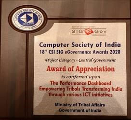 Ministry of Tribal Affairs received Award of Appreciation