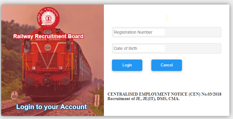 RRB JE CBT 1 RESULT Login